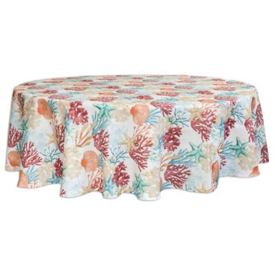 Merveilleux Bardwil Linens Coral Oasis 70 Inch Round Indoor/Outdoor Tablecloth With  Umbrella Hole