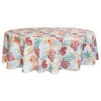 Bardwil Linens Coral Oasis 70-Inch Round Indoor/Outdoor Tablecloth with Umbrella Hole
