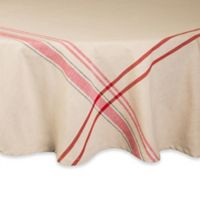 Design Imports French Stripe 70-Inch Round Tablecloth in Red/White