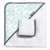 JJ Cole® 2-Piece Cloudy Smiles Hooded Towel and Washcloth Set in Blue