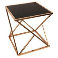 Danya B.™ Square Rose Gold End Table with Black Glass Top