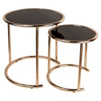 Danya B. Nested Round Metal and Glass Nesting End Tables in Black/Rose Gold (Set of 2)