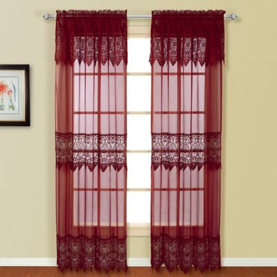 Valerie 63 Inch Rod Pocket Window Curtain Panel Pair In Burgundy