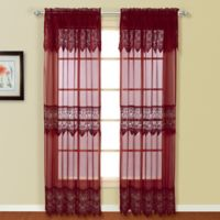 Valerie 84-Inch Rod Pocket Window Curtain Panel Pair in Burgundy