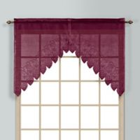 Valerie 38-Inch Rod Pocket Kitchen Window Swag Pair in Burgundy