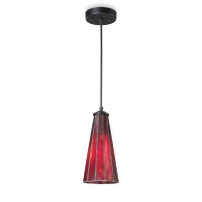 ELK Lighting Lumino 1 Light Pendant Ceiling Lamp In Matte Black/Inferno Red