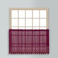 Valerie 24-Inch Rod Pocket Kitchen Window Tier Pair in Burgundy