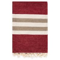 Surya Troy Throw Blanket in Red/Cream