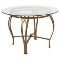 Flash Furniture Syracuse 42-Inch Metal and Glass Round Dining Table in Gold