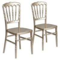 Flash Furniture Resin Stack-able Dining Chairs in Gold (Set of 2)