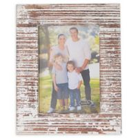 Mud Pie Distressed White-Washed Large Wood Picture Frame