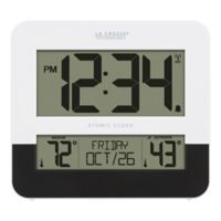 La Crosse Atomic Digital Wall Clock with In/Outdoor Temperature in Black/White