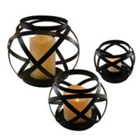 Black Intertwined Metal Lanterns with LED Candles in Black (Set of 3)