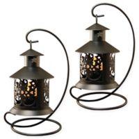 Metal Tabletop Lanterns in Black (Set of 2)