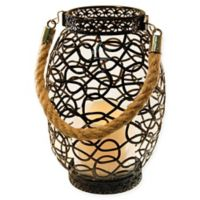 Black Swirl Metal Lantern with LED Candle and Timer