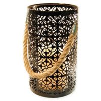 Black Jacquard Metal Lantern with LED Candle and Timer