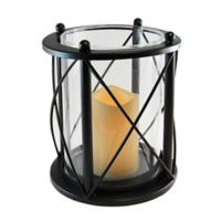 LumaBase® Round Crisscross Lantern with LED Candle in Black