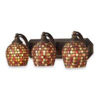 ELK Lighting 3-Light Vanity in Aged Bronze/Multi Mosaic Glass