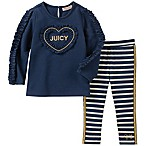 Juicy Couture® Size 6-9M 2-Piece Long Sleeve Ruffle Heart Top and Striped Pant in Navy