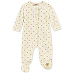 Juicy Couture® Size 0-3M Heart Long Sleeve Footie in White/Gold