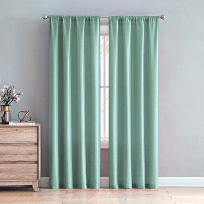 VCNY Chambray 84 Inch Rod Pocket Window Curtain Panel Pair In Teal