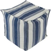 Surya Anchor Bay Square Pouf in Cream/Dark Blue