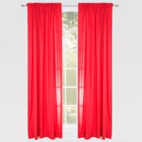 Solid Microfiber 84-Inch Rod Pocket Window Curtain Panel in Red