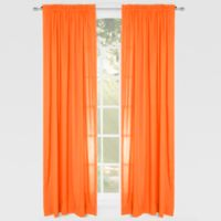 Solid Microfiber 84-Inch Rod Pocket Window Curtain Panel in Orange