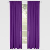 Solid Microfiber 84-Inch Rod Pocket Window Curtain Panel in Purple