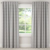 Skyline Ikat Fret 96-Inch Rod Pocket Window Curtain Panel in Grey