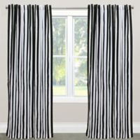 Skyline Furniture Canopy Stripe 96-Inch Rod Pocket/Back Tab Window Curtain Panel in Black
