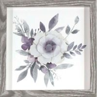 Watercolor Flowers with Paper Flower Framed Wall Art in Lavender