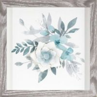 Watercolor Flowers with Paper Flower Framed Wall Art in Blue