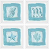 Marmont Hill Sea Life Blue 24-Inch Square Framed Quadriptych Wall Art
