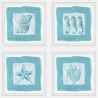 Marmont Hill Sea Life Blue 36-Inch Square Framed Quadriptych Wall Art