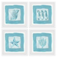 Marmont Hill Sea Life Blue 48-Inch Square Framed Quadriptych Wall Art