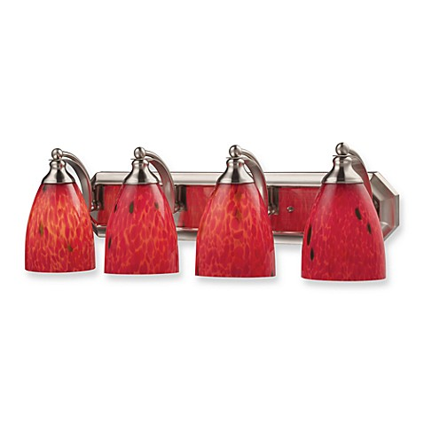 Hand-Blown Fire Red Glass and Satin Nickel Vanity Fixture