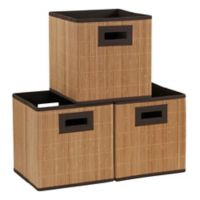 Household Essentials® Bamboo Storage Cubes in Brown (Set of 3)