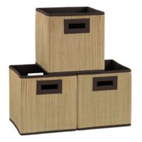 Household Essentials® Grass Cloth Storage Cubes in Tan (Set of 3)
