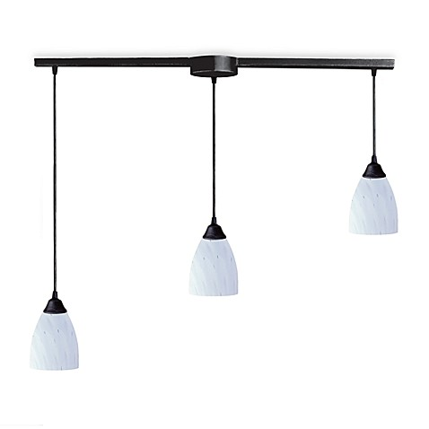 ELK Lighting Classico 3-Light Pendant Ceiling Lamp in Dark Rust/Simply White Glass