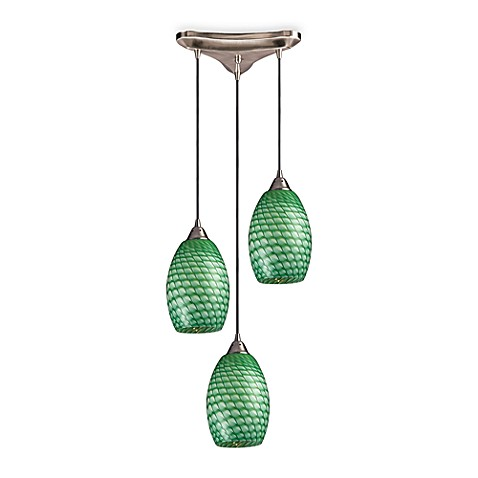 Hanging Pendant Light Fixture with Jade Glass and Satin Nickel