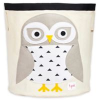 3 Sprouts Snowy Owl Storage Bin in White