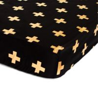 Bambella Designs Crosses Fitted Crib Sheet in Gold