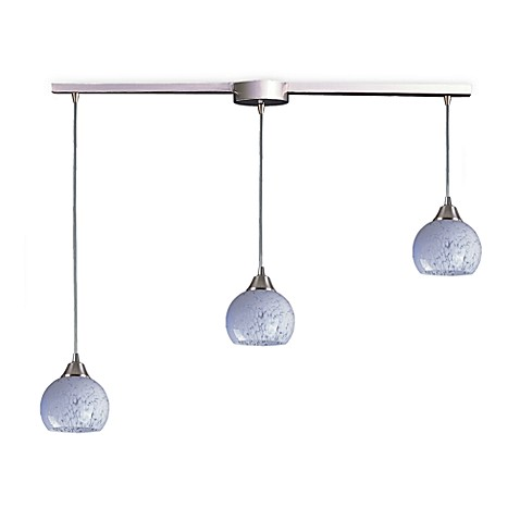 ELK Lighting Mela 3-Light Pendant Ceiling Lamp in Satin Nickel/Snow White Glass