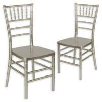 Flash Furniture Chiavari Resin Stacking Chair in Champagne (Set of 2)