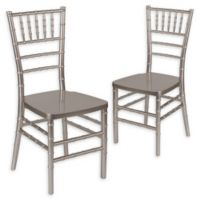 Flash Furniture Chiavari Resin Stacking Chair in Pewter (Set of 2)