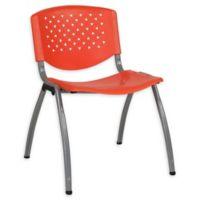 Flash Furniture Plastic Stack Chair with Titanium Frame in Orange