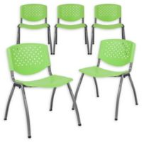 Flash Furniture Plastic Stack Chairs with Titanium Frames in Green (Set of 5)