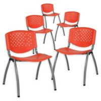 Flash Furniture Plastic Stack Chairs with Titanium Frames in Orange (Set of 5)
