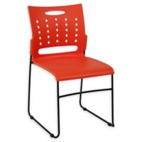 Flash Furniture Sled-Base Stack Chair with Air-Vent Back in Orange